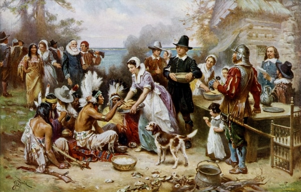 The First Thanksgiving representa la celebración de 1621 en Massachusetts. (Obra de Jean Leon Gerome Ferris)