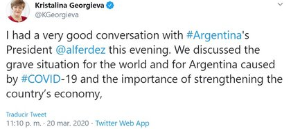 El mensaje de la directora del FMI luego de la comunicación telefónica con Alberto Fernández.