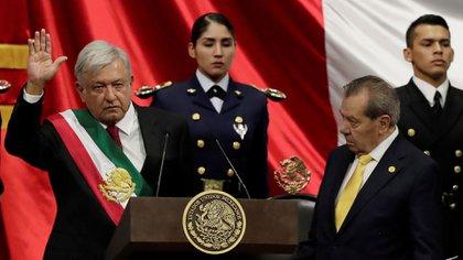 "La ""toma de protesta"" de López Obrador como presidente de México (Foto: Reuters)."