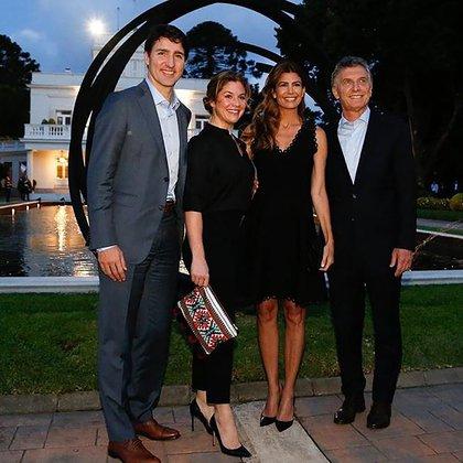 En la Quinta de Olivos recibiendo al primer ministro de Canadá. Justin Trudeau y la primera dama Sophie Grégoire