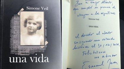 Macron le regaló a Alberto Fernández un libro sobre Simone Veil, impulsora del aborto legal en Francia y sobreviviente del Holocausto
