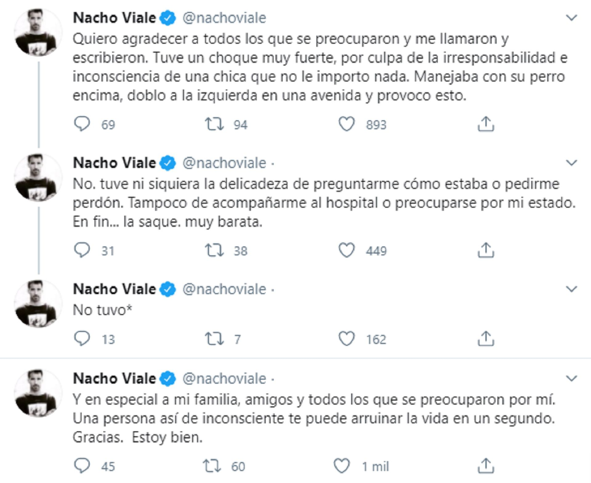 Los mensajes de Nacho Viale tras el accidente