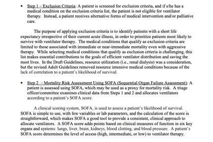 La guía de recomendaciones para elegir quién accede a un respirador en caso de escasez excluye a las personas con escasas probabilidades de sobrevivir.