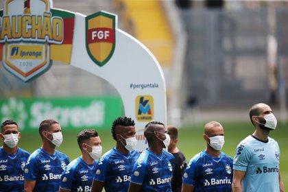 La protesta de los jugadores de Gremio (REUTERS/Diego Vara)