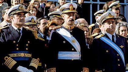 La Junta militar que dio el golpe el 24 de marzo de 1976: Emilio Massera, Jorge Rafael Videla y Orlando Agosti