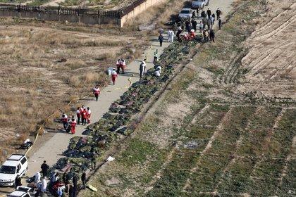 Cuerpos de pasajeros en bolsas de plástico en el sitio donde el avión de Ukraine International Airlines se estrelló después del despegue del aeropuerto iraní Imán Jomeini, en las afueras de Teherán. 8 de enero 2020. Nazanin Tabatabaee/WANA (West Asia News Agency) vía REUTERS.