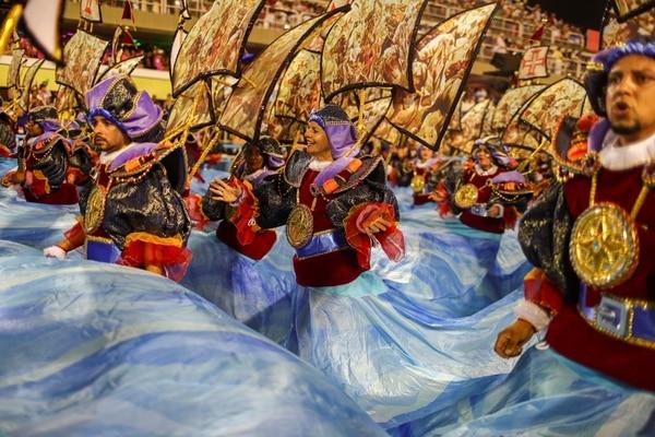 Revellers of Paraiso do Tuiuti samba school perform during the first night of the Carnival parade at the Sambadrome in Rio de Janeiro, Brazil February 24, 2020. REUTERS/Pilar Olivares