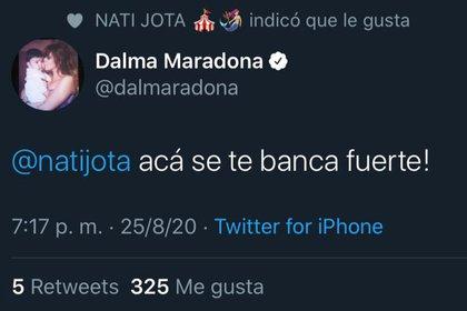 El mensaje de Dalma Maradona en Twitter, respaldando a Nati Jota