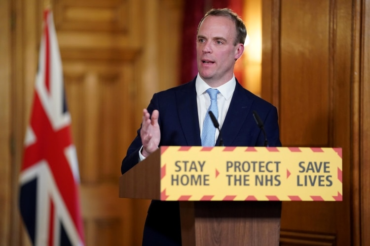 Dominic Raab, jefe de la diplomacia británica (Downing Street/Handout via REUTERS)