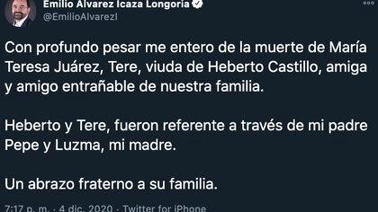 Miembros del Senado lamentaron la muerte de María Teresa Juarez, viuda de Heberto Castillo (Foto: Twitter@EmilioAlvarezI)