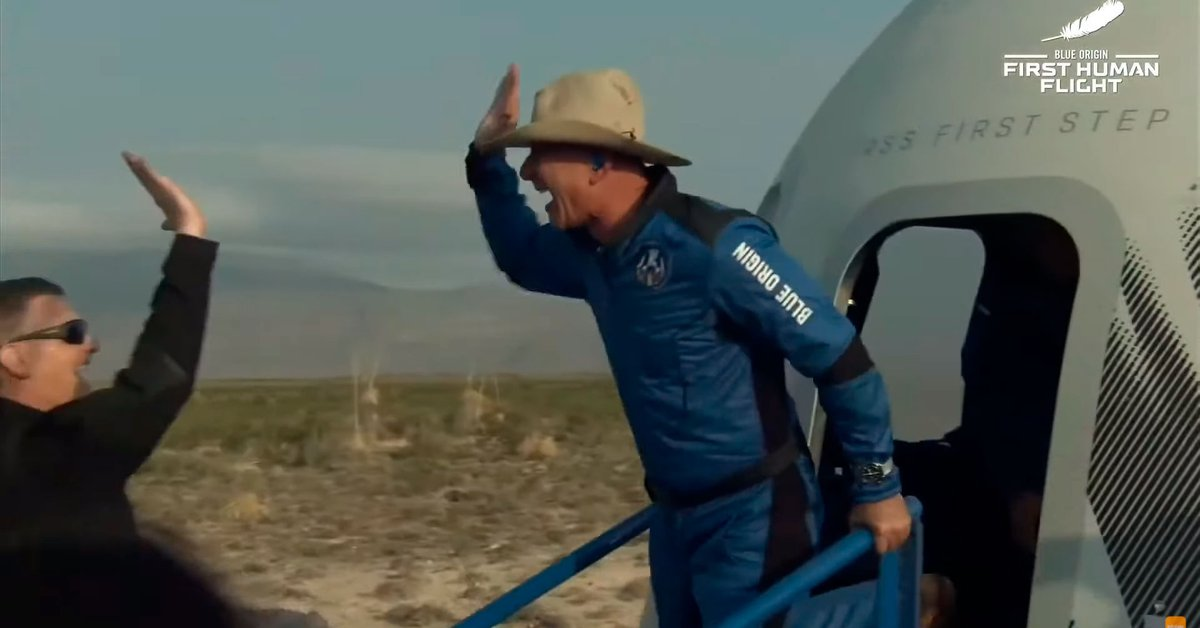 Jeff Bezos successfully made the first flight into Space with the New Shepard spacecraft