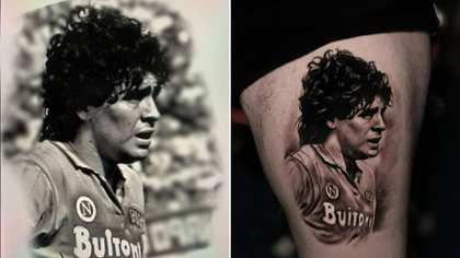 A la derecha, la foto de Diego Maradona; a la izquierda, el tatuaje de su hijo (IG: @valentinorussotattoo)