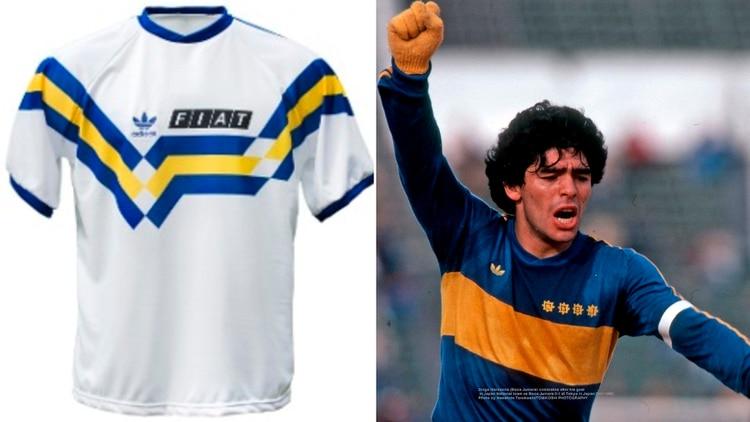 La nueva camiseta alternativa de Boca se parecería a una que utilizó a principios de los 90 (izquierda). En 2021 lanzaría un modelo especial por el título con Maradona en el 81 (derecha)