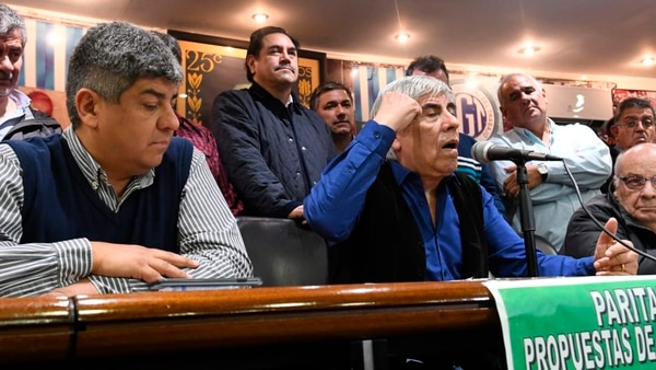 Hugo y Pablo Moyano al lanzar el paro de Camioneros (Fabian Ramella)