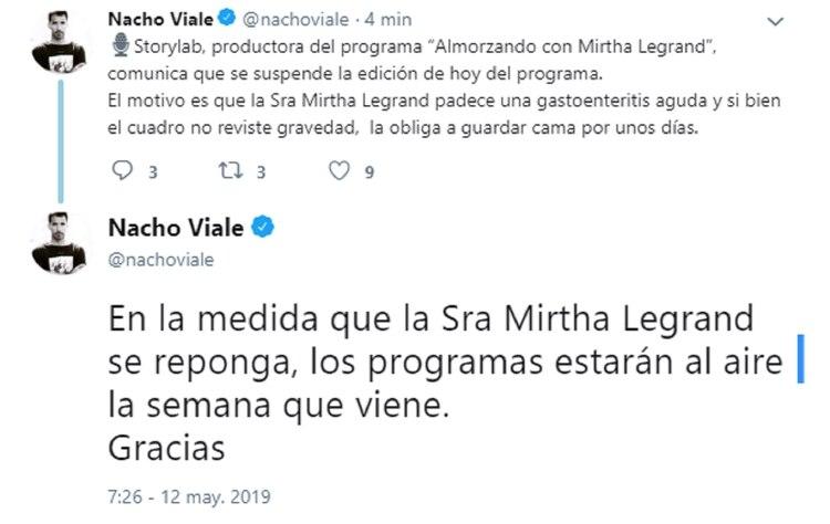 La publicación de Nacho Viale en Twitter
