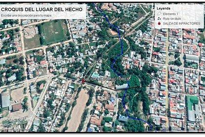 El croquis de la ubicación de los desagües pluviales a través de los que ingresan de manera clandestina ciudadanos bolivianos a Salta. El plano fue elaborado por los efectivos de gendarmería en la zona y elevado en un reporte oficial al ministerio de Seguridad de la Nación