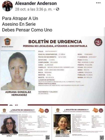"""Óscar """"N"""", supuesto asesino de seis mujeres, reveló en Facebook la identidad de las tres víctimas que fueron encontradas en su casa días antes del cateo a su casa (Foto: Archivo)"""