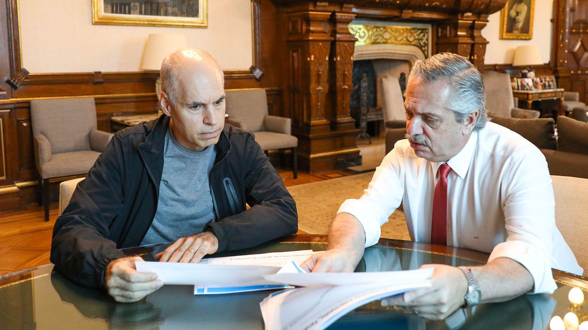 Horacio Rodríguez Larreta y Alberto Fernández (Presidencia)