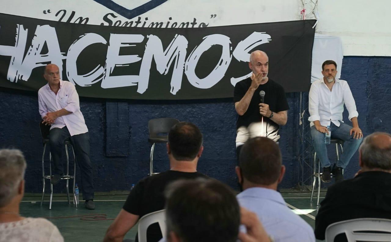 Nestor Grindetti Horacio Rodriguez Larreta y Diego Kravetz en la Tercera Seccion Electoral