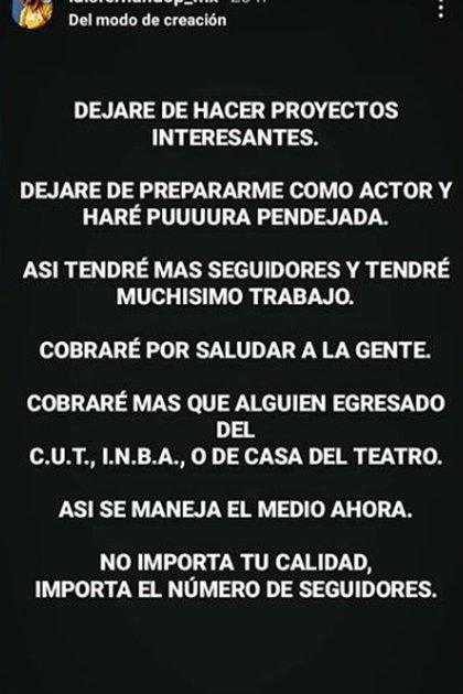 El mensaje de Luis Fernando Peña sobre la calidad de los actores y el número de seguidores