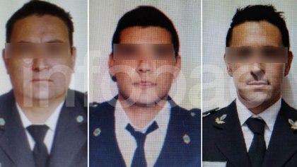 Tres de los policías detenidos Rubén Alberto García, Leonardo Ecilape y Franco Micucci