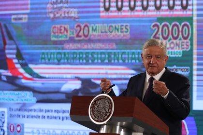 El presidente de México, Andrés Manuel López Obrador, durante una rueda de prensa matutina, en Palacio Nacional (Foto: EFE/ Mario Guzmán)