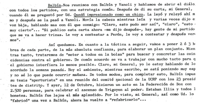 Párrafos del informe de Paladino a Juan Perón