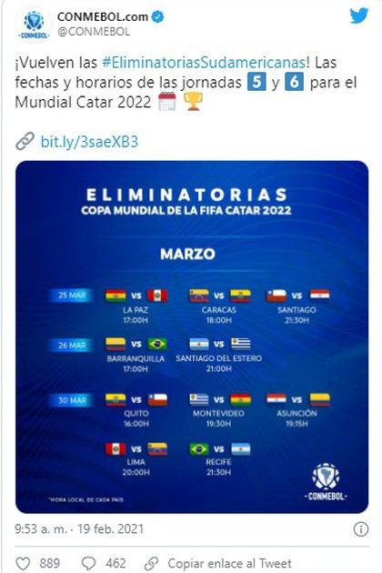 Dates de la Conmebol pour la qualification au Qatar 2022. Photo: Twitter Conmebol.