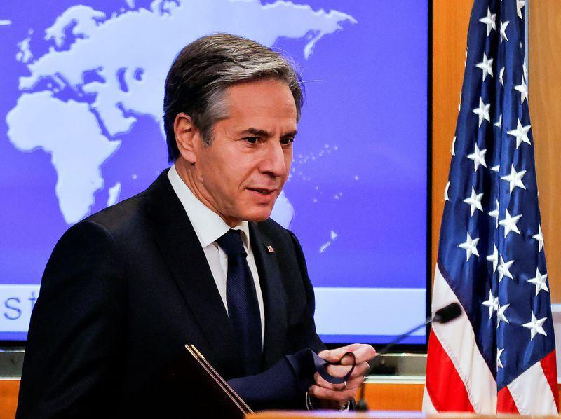 Foto de archivo del secretario de Estado de EEUU, Antony Blinken, en una rueda de prensa en el Departamento de Estado en Washington Ene 27, 2021. REUTERS/Carlos Barria
