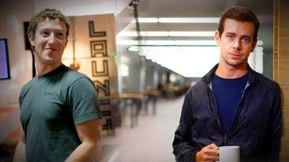 Mark Zuckerberg (CEO de Facebook) y Jack Dorsey (CEO de Twitter)