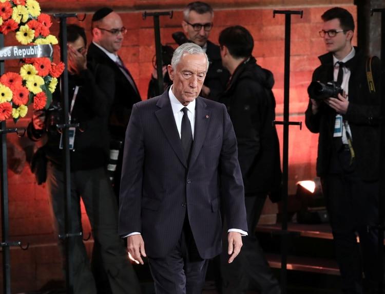 El presidente portugués, Marcelo Rebelo de Sousa, durante la ceremonia principal del quinto Foro del Holocausto. Foto: Abir Sultan/REUTERS