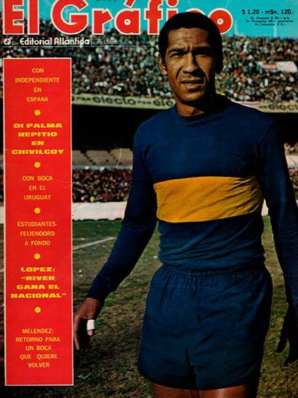 Meléndez, en la tapa de El Gráfico. Tal es su status en la historia del club que Riquelme lo llamó para su cumpleaños