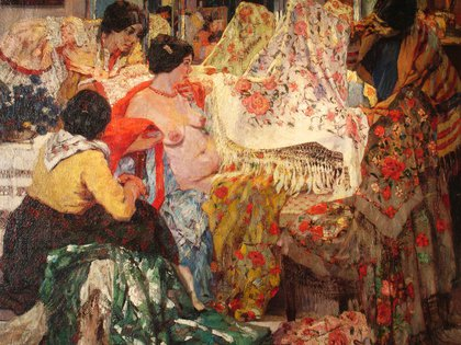 """""""Los mantones de Manila"""" (1914), de Fernando Fader. Óleo sobre tela (116 x 140 cm), en el Museo Nacional de Bellas Artes"""