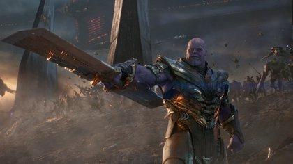 El malévolo Thanos, uno de los principales personajes de Avengers: Endgame, junto a héroes como, entre otros, el Capitán América, Thor, Spider-Man, Black Widow, Capitana Marvel, Hulk, Pantera Negra, Doctor Strange, Scarlet Witch, Ojo de Halcón, Bucky Barnes, Hombre Hormiga, Gamora, Valquiria, Star-Lord, Rocket, Drax, Rocket y Groot.