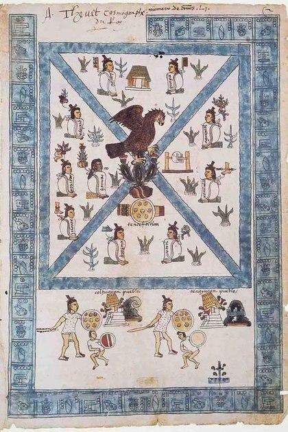 Reescribieron su historia y crearon el mito de que su dios Huitzilopochtli les ordenó buscar su sitio donde encontraran un águila devorando una serpiente en un nopal Foto: (Códice Mendoza Siglo XVI)