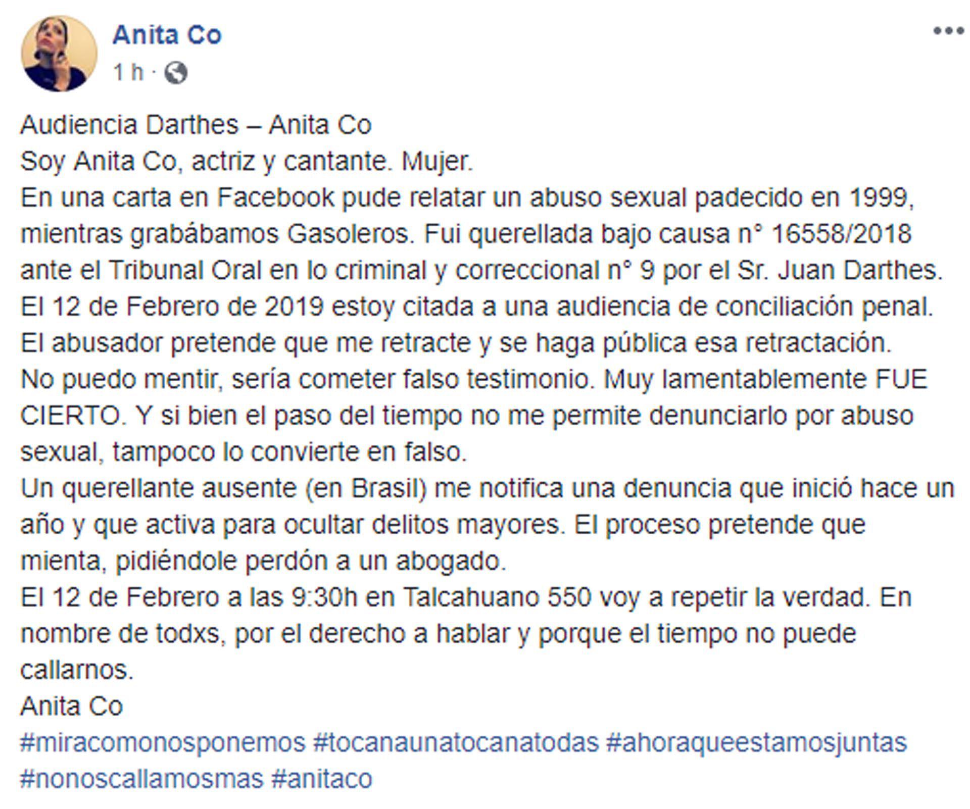 El mensaje de Anita Co en las redes sociales en donde contó sobre su denuncia a Juan Darthés