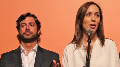 María Eugenia Vidal junto a Federico Salvai (Télam)