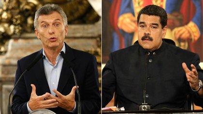 El presidente argentino, Mauricio Macri, y el venezolano, Nicolás Maduro