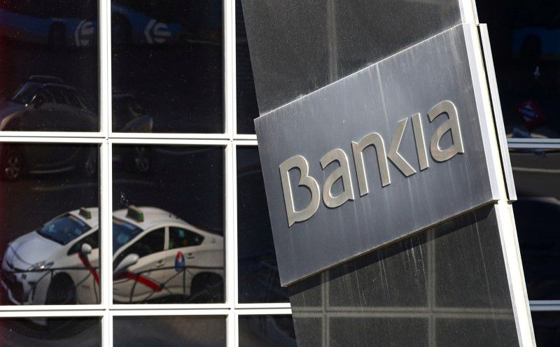 FILE PHOTO: A logo of Bankia bank is pictured outside its headquarters in Madrid, Spain September 4, 2020. REUTERS/Sergio Perez/File Photo