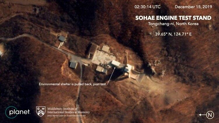 El sitio de pruebas de motores de Sohae, en esta foto del 15 de diciembre (AP)