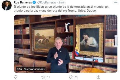 Roy Barreras habla de los resultados de las elecciones presidenciales de los EE.UU.