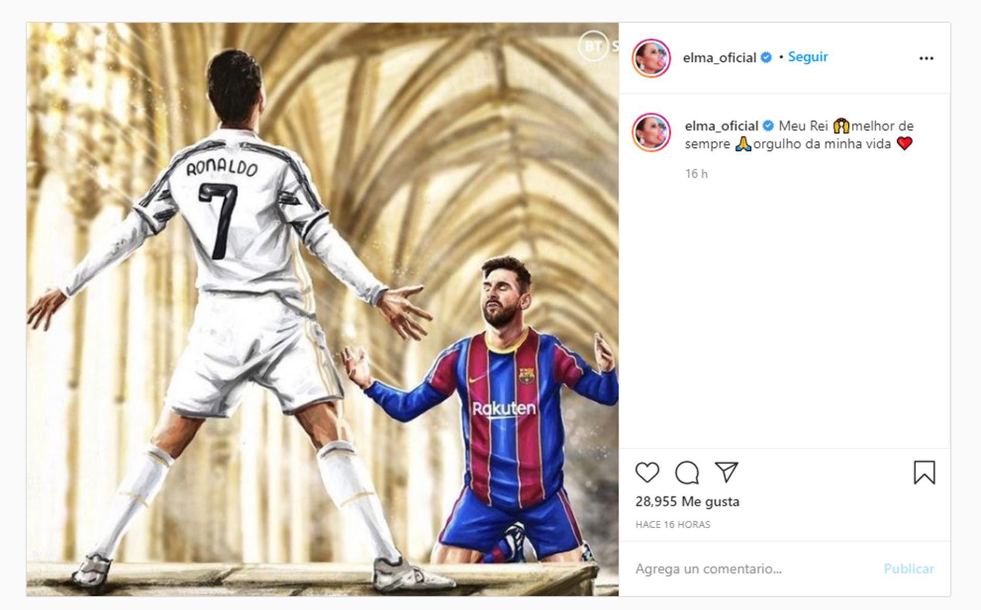 Publicación hermana de Cristiano Ronaldo sobre él y Messi