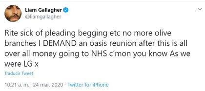 El mensaje de Liam donde pidió una reunión de Oasis