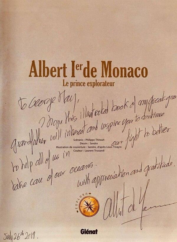 La dedicatoria del libro obsequiado por Alberto Grimaldi al capitán Jorge May