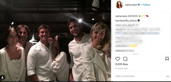 Zaira Nara con amigos y con su pareja, pasaron Año Nuevo en el campo