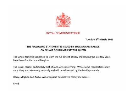 El comunicado de Isabel II por las declaraciones de los duques de Sussex en la entrevista con Oprah Winfrey