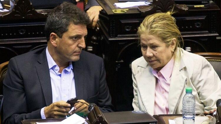 Sergio Massa y Graciela Camaño cuando compartían bloque en Diputados (Foto: NA)