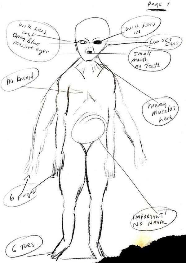 Uno de los sketches sobre el alien, con sus característicos 6 dedos