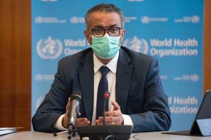 15/01/2021 El director general de la Organización Mundial de la Salud (OMS), Tedros Adhanom Ghebreyesus, durante la reunión del Comité de Emergencias de la OMS. En Ginebra (Suiza), a 14 de enero de 2021. POLITICA SALUD OMS