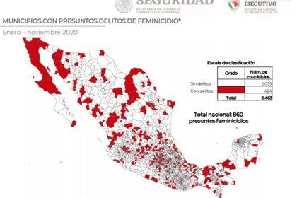 Los principales estados y municipios con mayor violencia a mujeres y niñas Foto: (Secretariado)